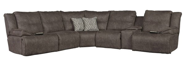 Southern Motion Major League Brown Power Reclining Sectional with Headrest STHN-516-05-95P-80-84-90-95P-47-06-95P-299-21-462-14