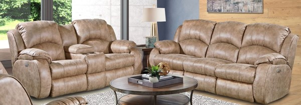 Southern Motion Cagney Brown Power Headrest Double Reclining Sofa and Console Loveseat Set STHN-705-61P-78P-173-16