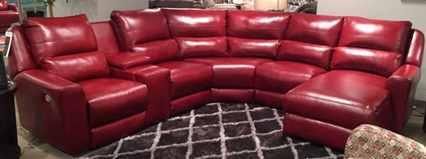 Southern Motion Producer Red Sectional with Chaise and Power Headrests STHN-716-05P-46-80-84-80-59P-906-42
