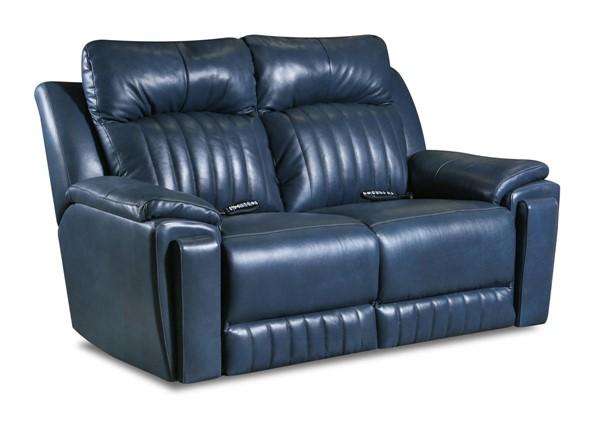 Southern Motion Silver Screen Blue Power Headrest Reclining Loveseat with Hidden Cupholders STHN-743-51-95P-903-60