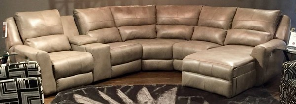 Southern Motion Producer Beige Sectional with Power Headrests STHN-716-05P-46-80-84-80-06P-903-09