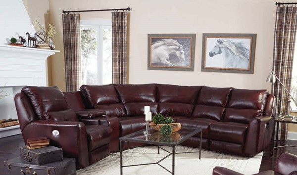 Southern Motion Producer Brown Sectional with Power Headrests STHN-716-05P-46-90P-84-80-06P-906-23