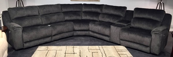 Southern Motion Dazzle Grey Microfiber Power Headrest Reclining Sectional STHN-883-05P-80-84-90P-46-06P-15214