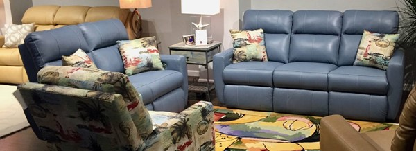 Southern Motion Knock Out Blue Reclining Sofa and Loveseat Set STHN-86532P-22P-92060