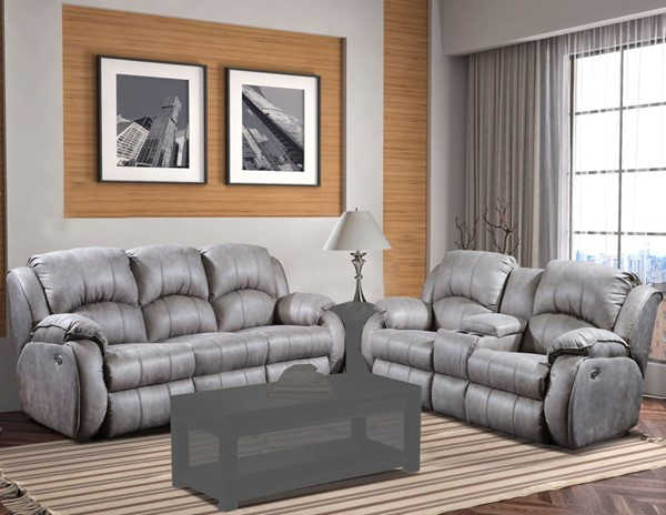 Southern Motion Cagney Grey Power Headrest Double Reclining Sofa and Console Loveseat Set STHN-705-61P-78P-173-09