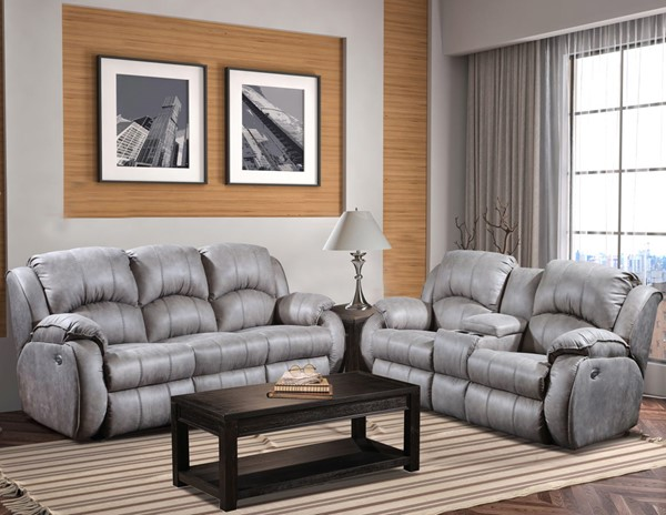 Southern Motion Cagney Grey Headrest Double Reclining Sofa And Console Loveseat Set
