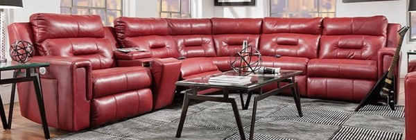 Southern Motion Excel Red Power Headrest Reclining Sectional STHN-86605P4690P8490P06P90511
