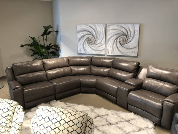 Southern Motion Dazzle Grey Power Reclining Sectional Sofa with Headrest STHN-883-05P-80-84-80-47-06P-906-04