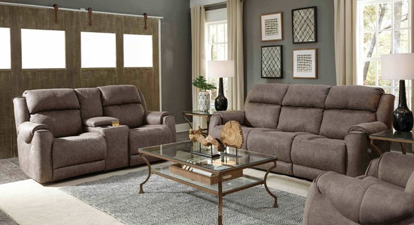 Southern Motion Safe Bet Grey Polyester Power Headrest Reclining Sofa and Loveseat Set STHN-757-61P-78P-299-09