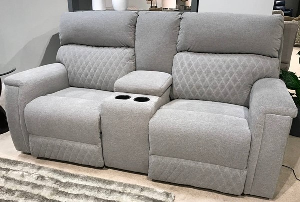 Southern Motion High Rise Grey Double Reclining Console Loveseat STHN-671-28-229-09