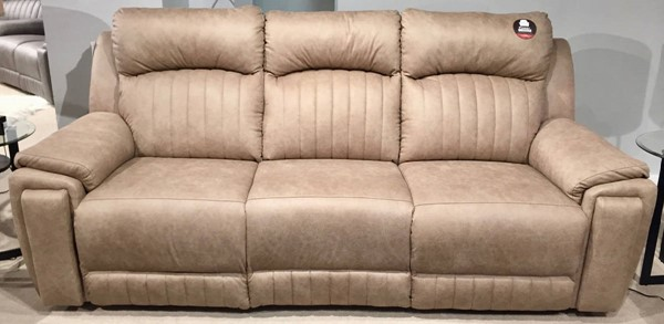 Southern Motion Silver Screen Beige Double Reclining Sofa with Hidden Cupholders STHN-743-31-128-15