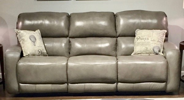 Southern Motion Fandango Grey Leather Double Reclining Sofa STHN-88431-90604