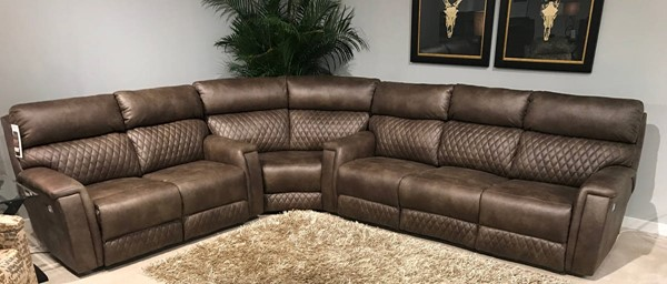 Southern Motion High Rise Brown Power Headrest Reclining Sectional STHN-671-61P-83-51P-299-21