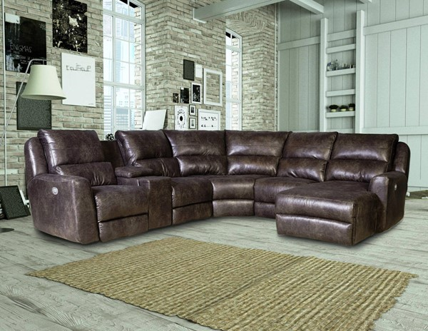 Southern Motion Producer Brown Sectional with Chaise and Power Headrests STHN-716-05P-46-90P-84-80-59P-252-14