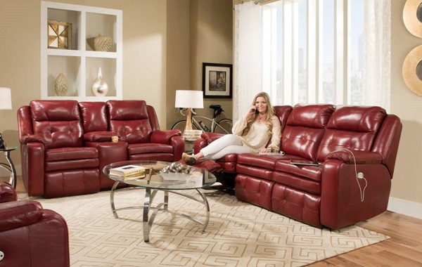 Southern Motion Inspire Red Leather Power Headrest Sofa And Loveseat STHN-850-61P-78P-906-42