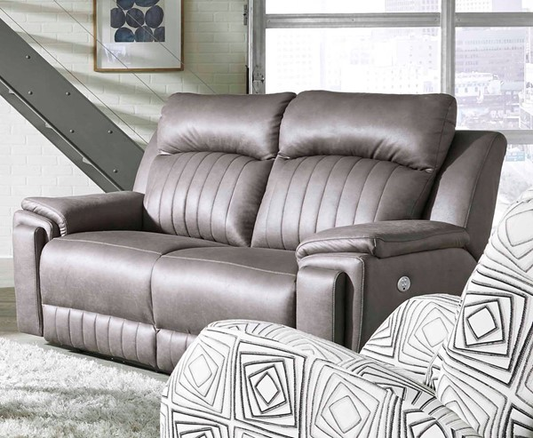 Southern Motion Silver Screen Grey Double Reclining Loveseat With Hidden Cupholders STHN-743-51P-167-14