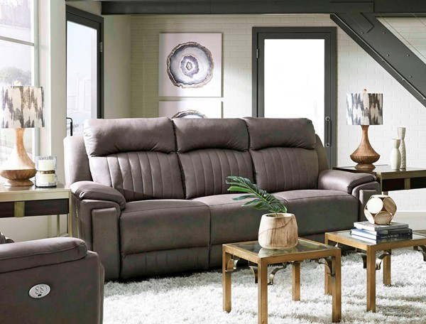 Southern Motion Silver Screen Grey Double Reclining Sofa with Hidden Cupholders STHN-743-51P-167-14