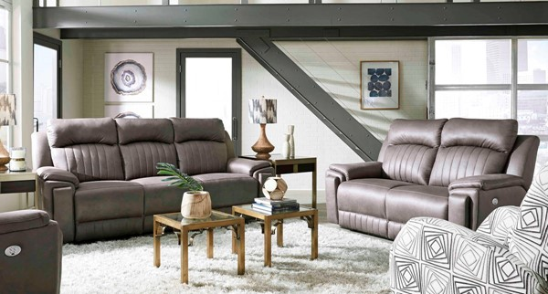 Southern Motion Silver Screen Grey Double Reclining Sofa and Loveseat Set with Hidden Cupholders STHN-743-51P-61P-167-14