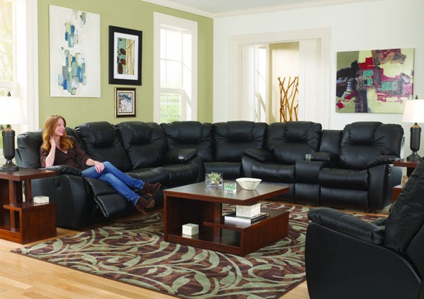 Southern Motion Avalon Black Reclining Sectional STHN-83831-28-83-905-13