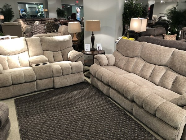 Southern Motion Re Fueler Beige Stone Power Headrests Double Reclining Sofa and Console Loveseat Set STHN-813-61P-78P-237-16