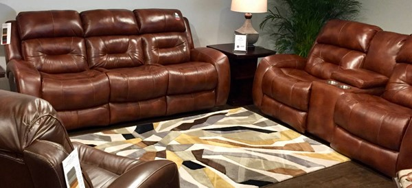 Southern Motion Showcase Brown Rustico Power Headrest Reclining Sofa and Console Loveseat Set STHN-316-61P-78P-906-28
