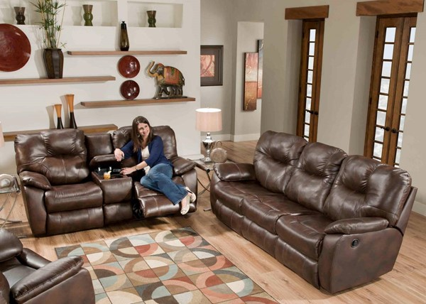 Southern Motion Avalon Brown Rustico Double Reclining Sofa and Loveseat Set STHN-838-31-28-906-21