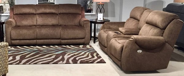 Southern Motion Safe Bet Brown Coffee Power Headrest Reclining Sofa and Loveseat Set STHN-757-61P-78P-152-22