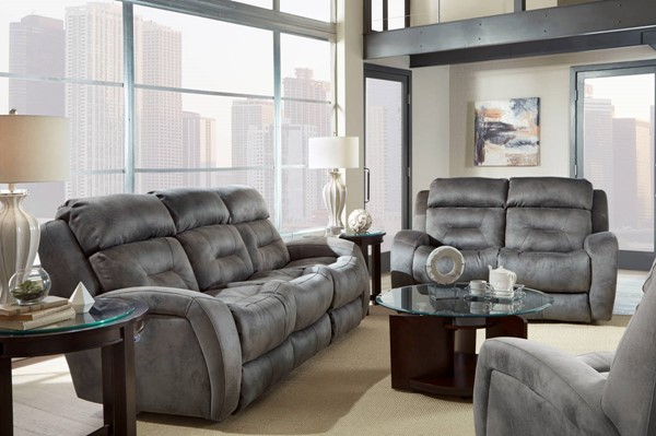 Southern Motion Showcase Grey Double Reclining Sofa And