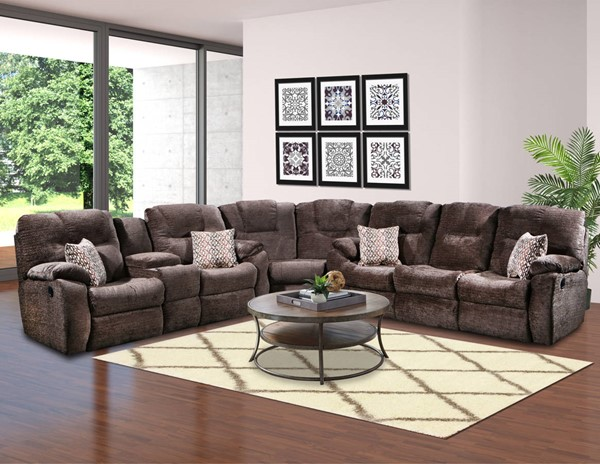 Southern Motion Avalon Brown Polyester Reclining Sectional STHN-83831-28-83-190-21-389-17
