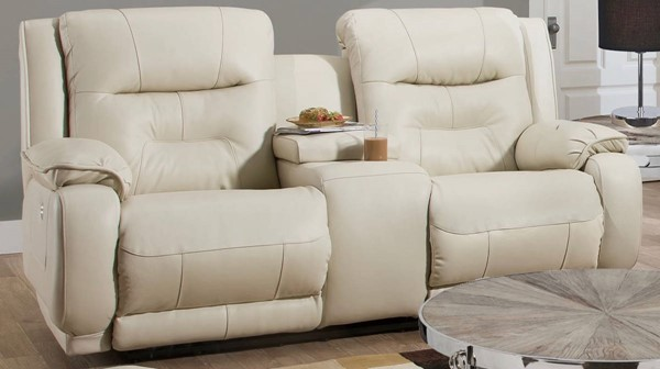 Southern Motion Crescent Cream Power Headrest Loveseat with Console STHN-87478P-95615