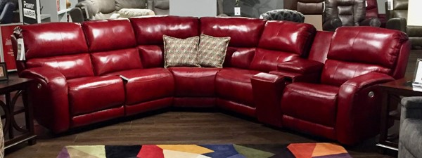 Southern Motion Fandango Red Power Headrest Reclining Sectional STHN-884-05P-90P-83-80-46-06P-906-42