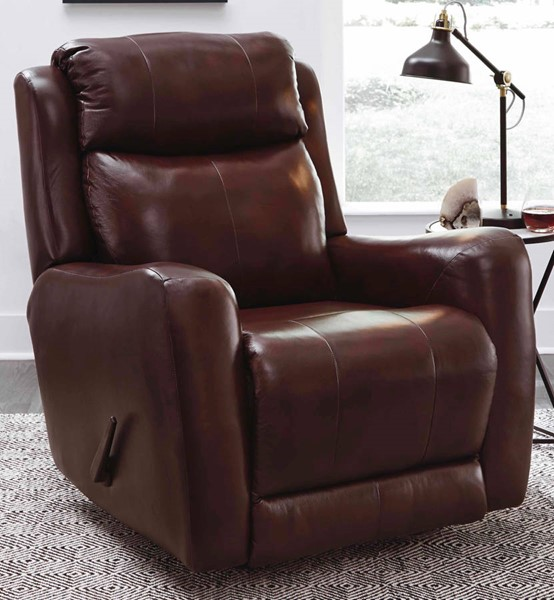 Southern Motion View Point Brown Leather Swivel Rocker Recliner STHN-1186S-906-23
