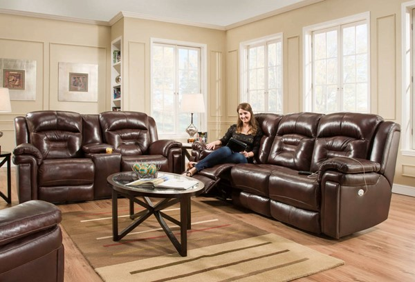 Southern Motion Avatar Brown Power Headrest Sofa and Loveseat Set STHN-843-61P-78P-906-23