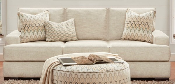 Southern Motion Handwoven Parchment Beige Fabric Sofa STHN-8560KP-HNDWOVEPARCHMNT