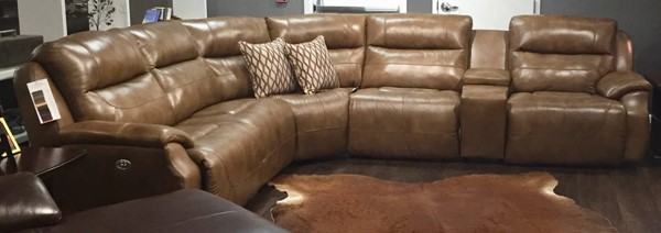 Southern Motion Five Star Brown Leather Power Reclining Sectional STHN-512-05P-46-90P-84-80-06P-90617-46211