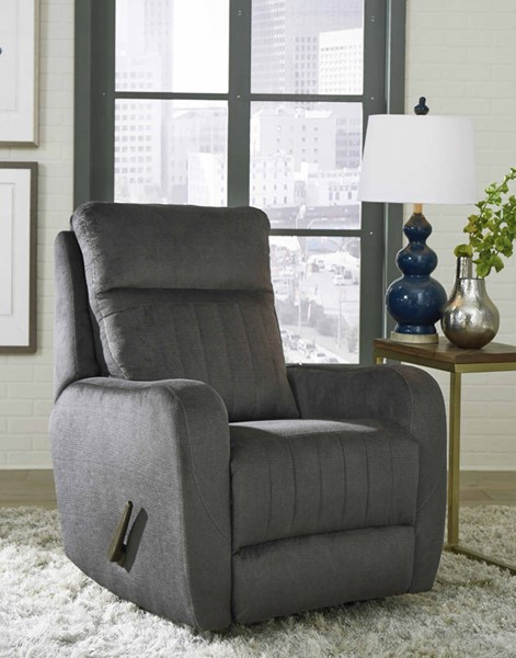 Southern Motion Racetrack Grey Microfiber Swivel Rocker Recliner STHN-1166S-137-14