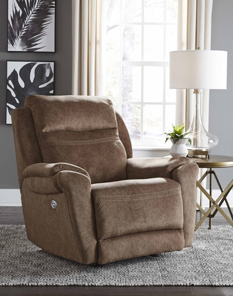 Southern Motion Gold Metal Brown Microfiber Power Headrest Wall Hugger Recliner STHN-6172P-152-22
