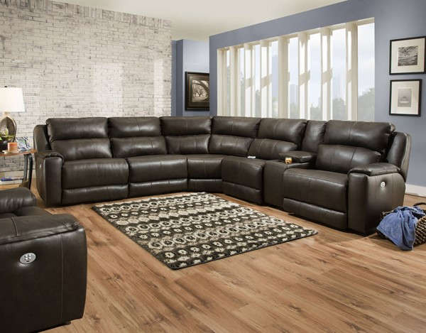 Southern Motion Dazzle Brown Fossil Power Reclining Sectional Sofa with Headrest STHN-88305P808490P4706P95718