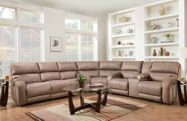 Southern Motion Fandango Tan Manual Reclining Sectional STHN-884-31-83-28-276-17