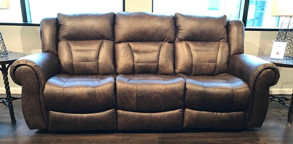 Southern Motion Titan Brown Double Reclining Sofa and Console Loveseat Set STHN-708-31-28-970-22