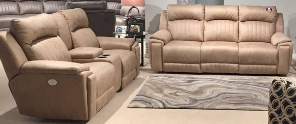 Southern Motion Silver Screen Beige Double Reclining Sofa Loveseat Set with Hidden Cupholders STHN-743-31-28-128-15