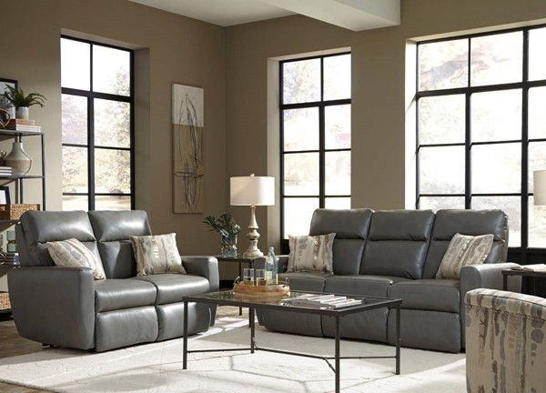 Southern Motion Knock Out Grey Power Headrest Double Reclining Sofa and Loveseat Set STHN-865-61P-51P-906-14