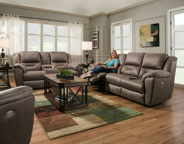 Southern Motion Pandora Brown Latte Power Headrest Sofa and Loveseat Set STHN-751-61P-78P-276-17