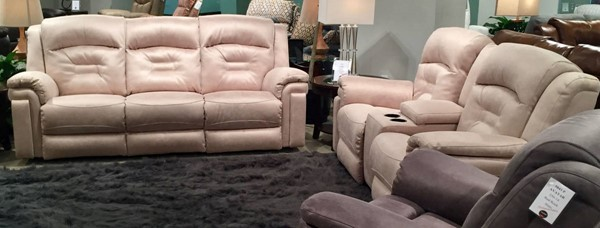 Southern Motion Avatar Beige Power Headrest Reclining Sofa and Loveseat Set STHN-84361P-78P-230-15