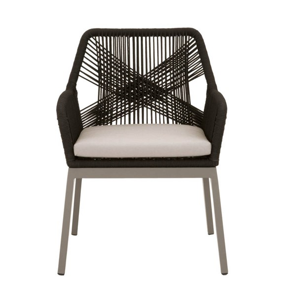 2 Star International Loom Storm Grey Black Outdoor Dining Arm Chairs STR-2601-BLK-SGRY-STRM
