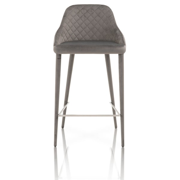 2 Star International Marquee Brushed Stainless Steel Counter Stools STR-1634CS-GAV-GRY