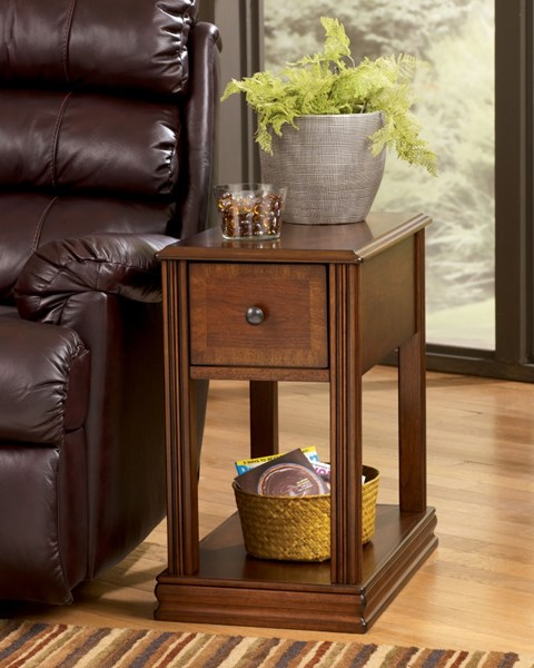 Contemporary Brown Wood Marble Rectangle Chairside End Table T007