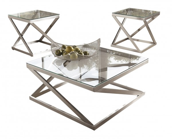 Coylin Casual Brushed Nickel Glass Metal Coffee Table Set T136