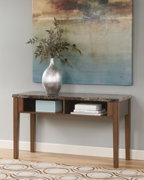 Theo Contemporary Warm Brown Wood Marble Sofa Console Table T158-4