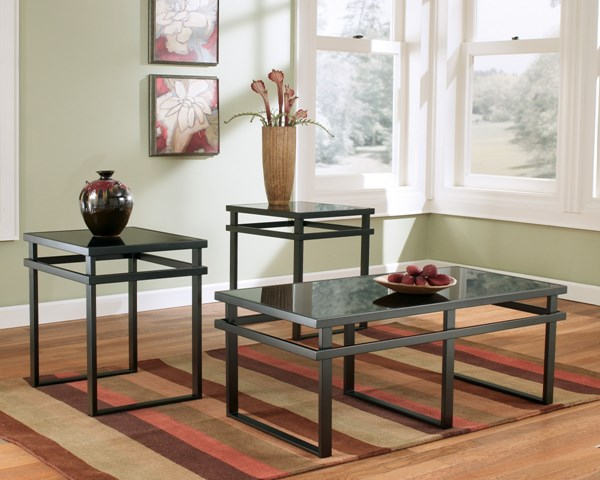 Laney Contemporary Metal Glass 3pc Occasional Table Set T180-13
